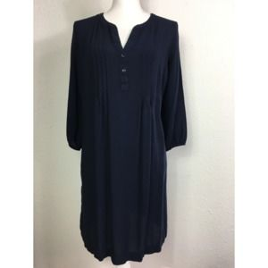 Old Navy M Blue Pintuck Button V-Neck Shift Dress